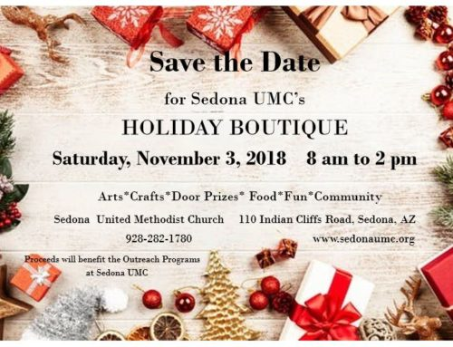 Holiday Boutique at Sedona UMC on Saturday, November 3rd, 8am-2pm